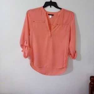 Coral Silky Top by Simply Styled